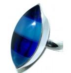 Zilveren Ring Blue Stripes