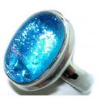 Zilveren Ring Blue Murano Glass