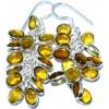 Zilveren Cluster Oorbellen Gouden Kwarts