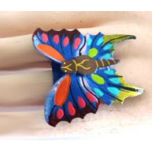 Lederen Vlinderring Blauw