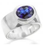 Zilveren Ring met Saffierblauwe Zirkonia