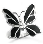 Zilveren Ring Onyx Butterfly