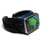 Lederen Ring Abalone Opaal
