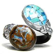 Lederen Ring Australisch Opaal