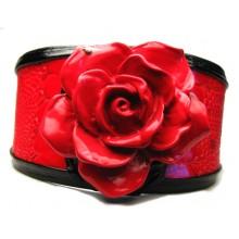 Lederen Armband Red Rose