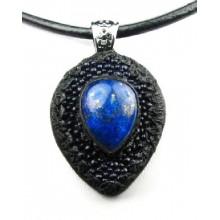 Lederen Ketting Lapiz Lazuli