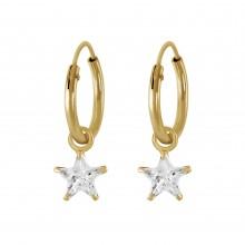 Zilveren Oorringen Stars gold