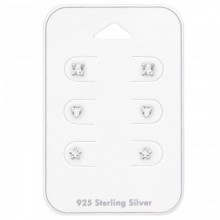3 MM Zilveren Set Oorbellen 6 Delig
