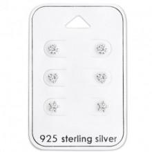 4 MM Zilveren Set Oorbellen 6 Delig