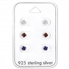 Zilveren Set Oorbellen Wit, Rood en Paars