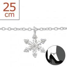 Zilveren Enkelbandje Snowflake