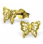 Zilveren Oorstekers Vlinders Verguld