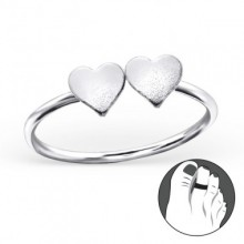 Zilveren Teenring Double Love
