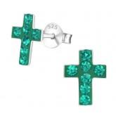 Zilveren oorbellen Emerald Crosses