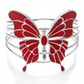 Zilveren Armband Rode Vlinder