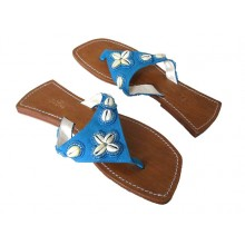Lederen Slippers Coral Beach Aqua