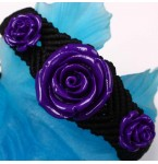Zwarte Armband met Paarse Rozen