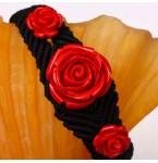 Zwarte Armband met Rode Rozen