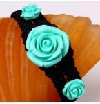 Zwarte Armband met Turquoise Rozen