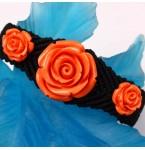 Zwarte Armband met Koraalkleurige Rozen