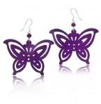 Zilveren Oorbellen Purple Butterfly