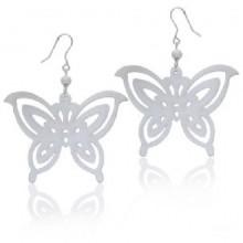 Zilveren Oorbellen White Butterfly