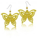Zilveren Oorbellen Yellow Butterfly