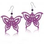 Zilveren Oorbellen Pink Butterfly