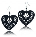 Zilveren Oorbellen Black Filigree Hearts