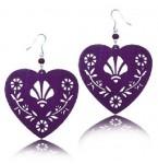 Zilveren oorbellen Purple Filigrain Hearts