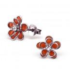 Zilveren Oorbellen Orange Flowers