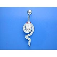 Zilveren Navelpiercing White Snake