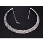 Rhinestone Choker Three Rows