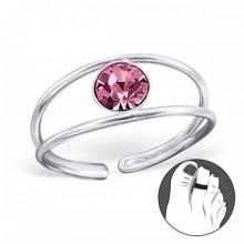 Zilveren Teenring Debrah Pink