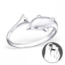 Zilveren Teenring Dolfijn