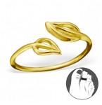 Zilveren Teenring Bladeren Gold
