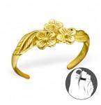 Zilveren Teenring Flowers Gold