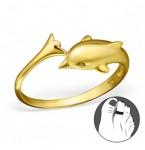 Zilveren Teenring Dolfijn Goud
