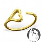 Zilveren Teenring Solo Heart Gold