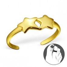 Zilveren Teenring Stars Gold