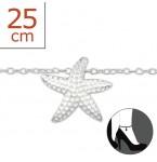 Zilveren Enkelbandje Starfish