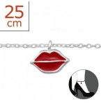 Zilveren Enkelbandje Lips