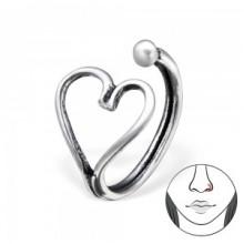 Zilveren Neusring Heart