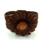 Lederen Armband Brown Flower