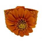 Lederen Armband Orange Flower