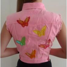 Spijkerjasje Hot Pink & Butterflies