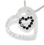 Zilveren Kettinghanger Double Hearts Black and White