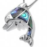 Zilveren Kettinghanger Dolfijn met Abalone