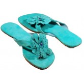 Lederen Slippers Passion Flora Aqua