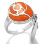 Zilveren Ring Oranje Roos